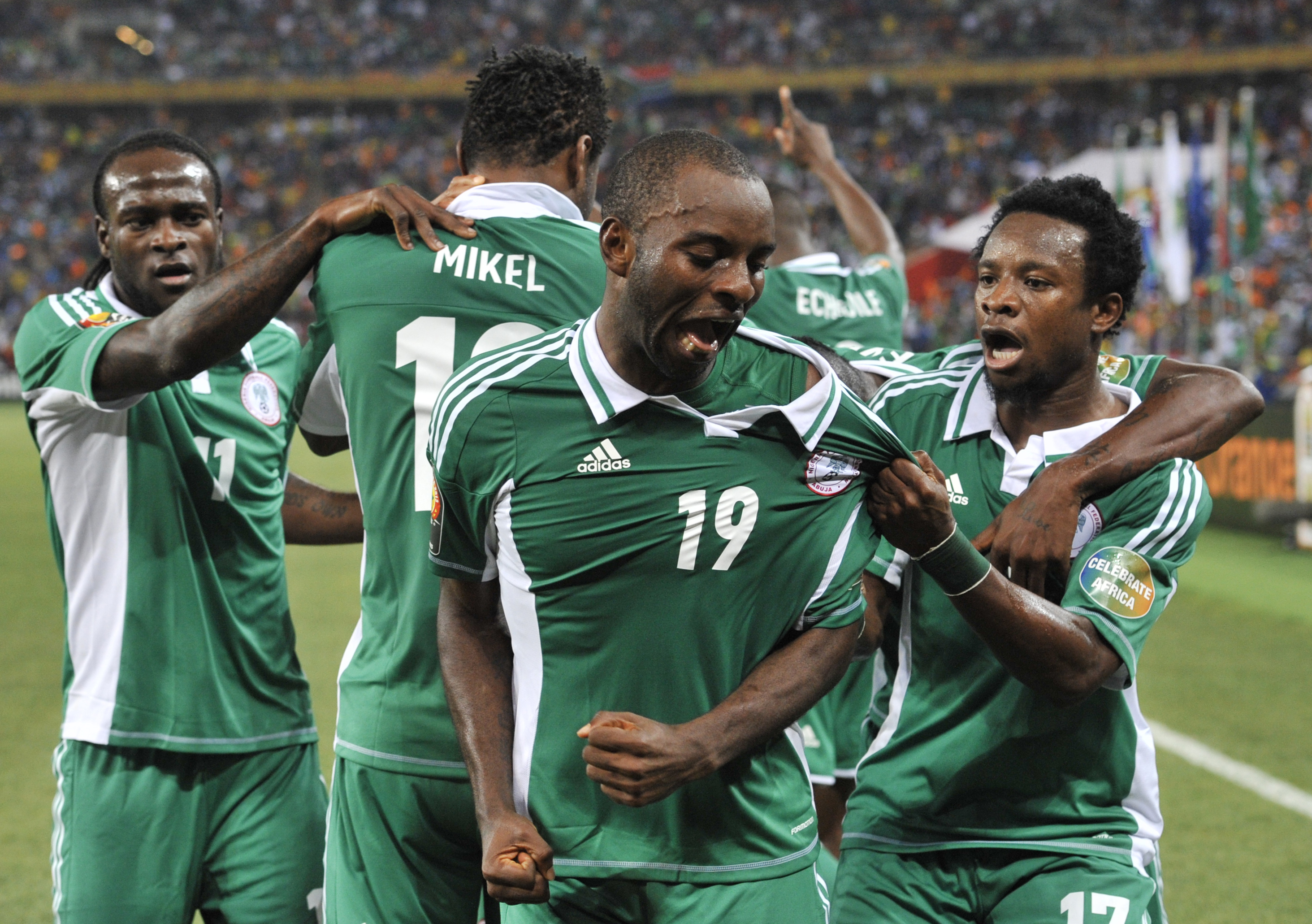 b4b1dd251e7 Nigeria Super Eagles players celebrate victory. As the saying ...